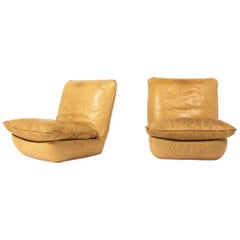French Leather Chairs and Ottoman by Airborne