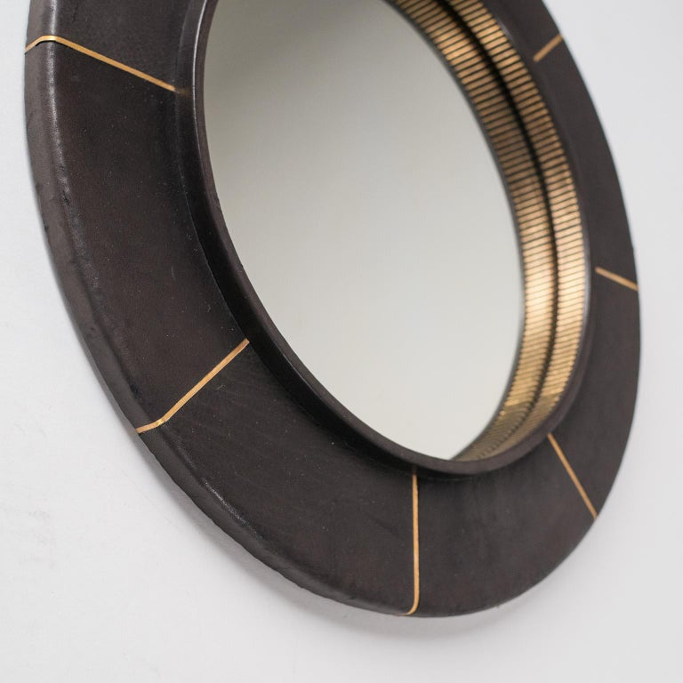 French Leather-Clad Mirror, circa 1980 In Good Condition For Sale In Vienna, AT