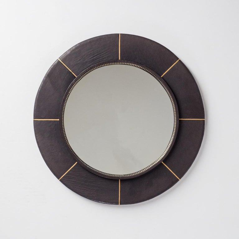 Late 20th Century French Leather-Clad Mirror, circa 1980 For Sale