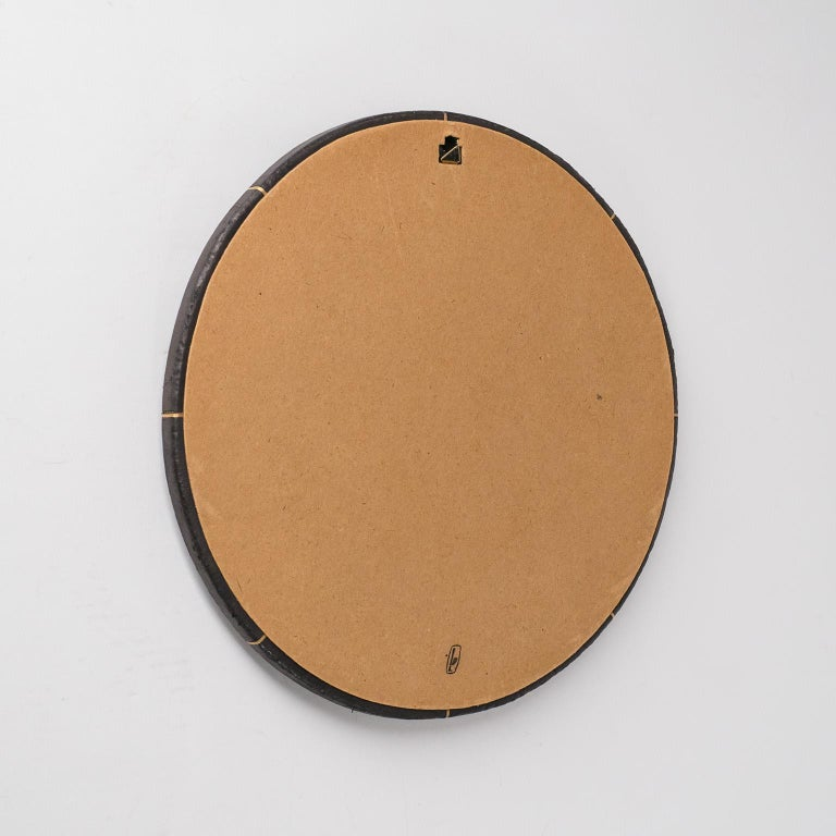 French Leather-Clad Mirror, circa 1980 For Sale 1