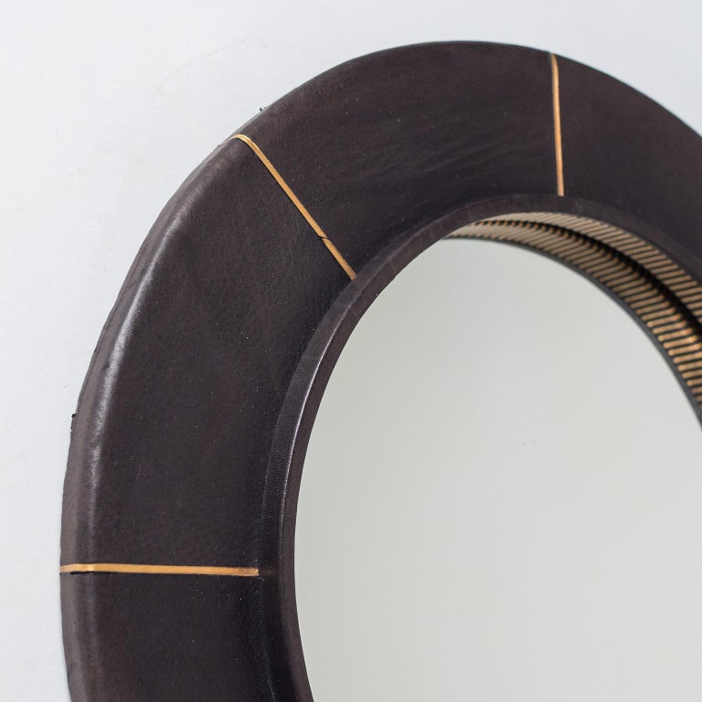 French Leather-Clad Mirror, circa 1980 For Sale 3