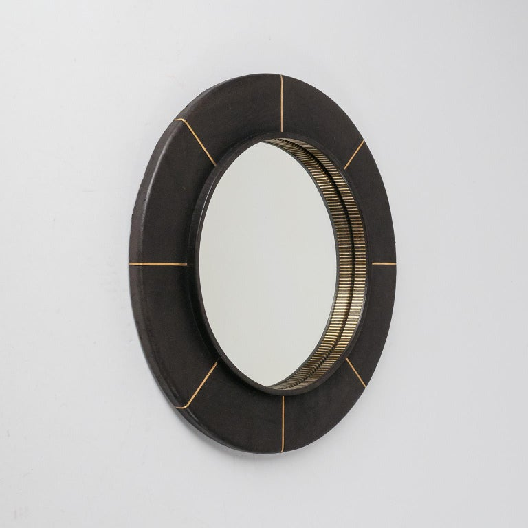 French Leather-Clad Mirror, circa 1980 For Sale 4