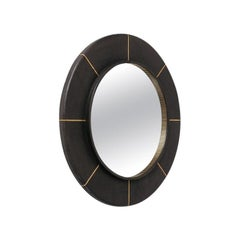 French Leather-Clad Mirror, circa 1980