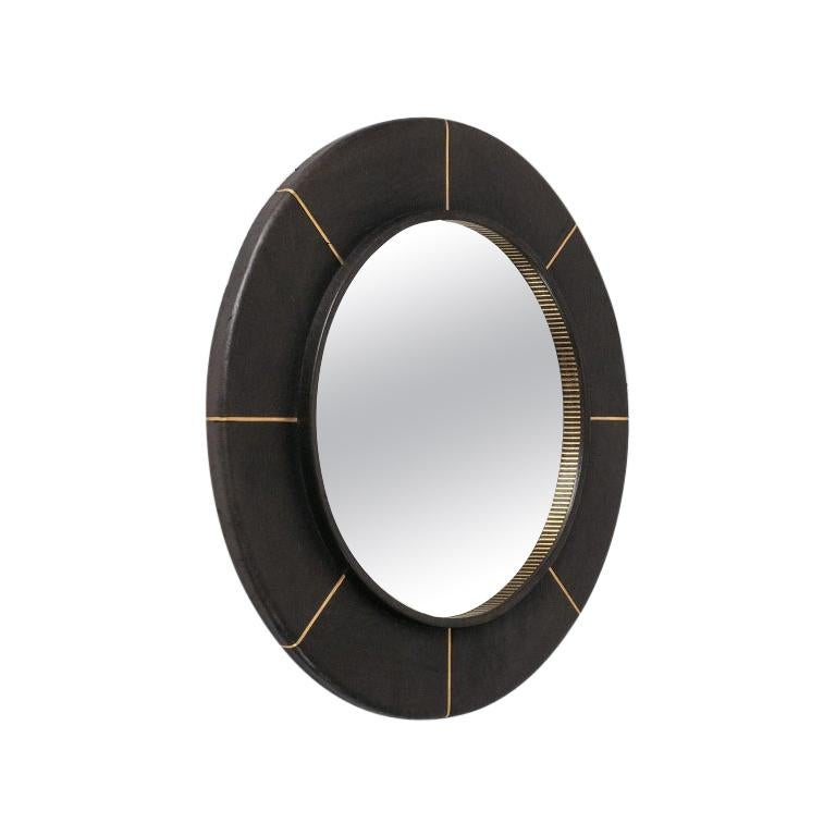 French Leather-Clad Mirror, circa 1980 For Sale