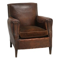 French Leather Club Chair Cosmetically All Original with Velvet Seat