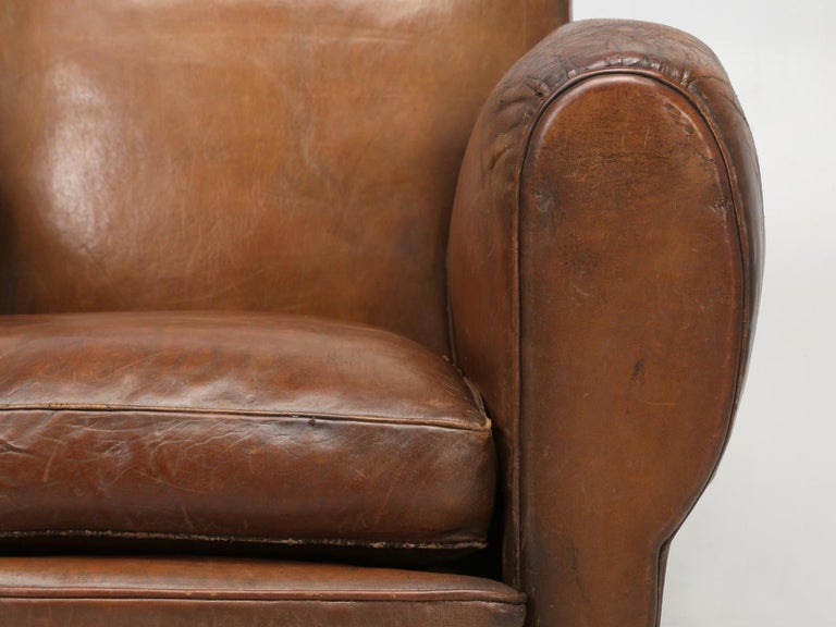 French Leather Club Chair from the Art Deco Period, Internally Restored Properly For Sale 6