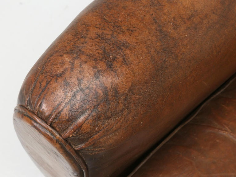 French Leather Club Chair from the Art Deco Period, Internally Restored Properly For Sale 7