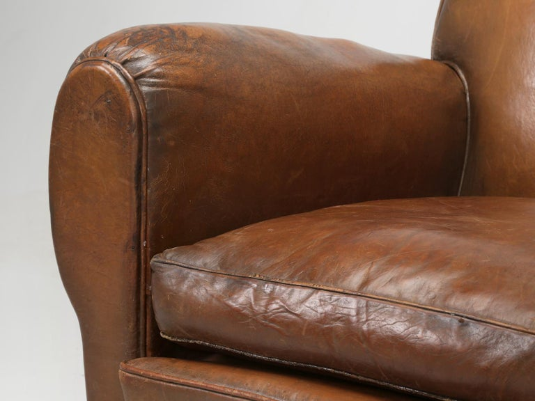 French Leather Club Chair from the Art Deco Period, Internally Restored Properly For Sale 8