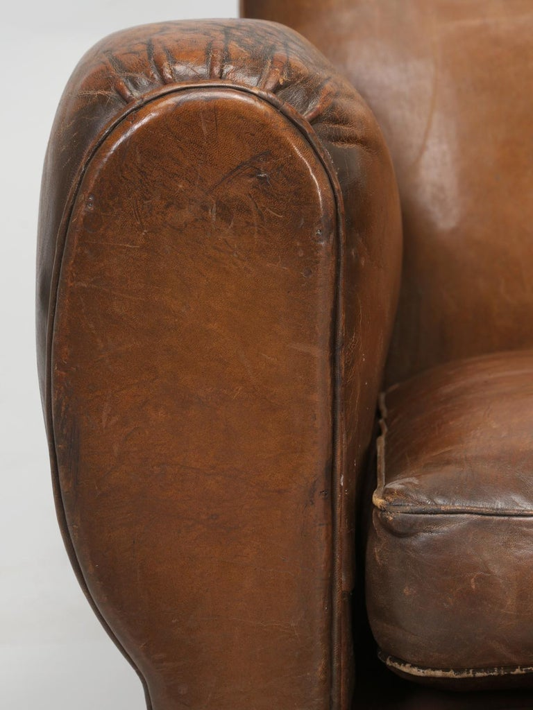 French Leather Club Chair from the Art Deco Period, Internally Restored Properly For Sale 9