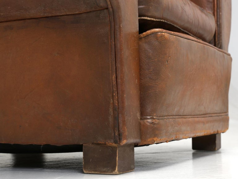 French Leather Club Chair from the Art Deco Period, Internally Restored Properly For Sale 11