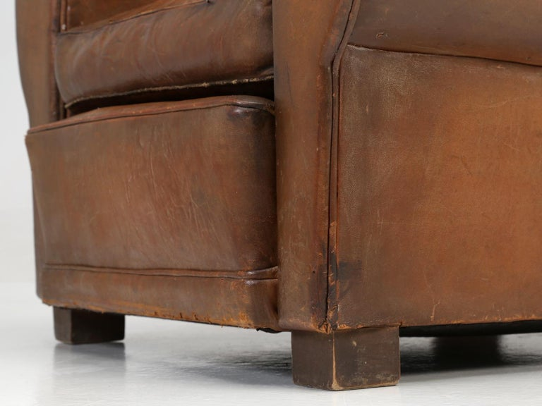 French Leather Club Chair from the Art Deco Period, Internally Restored Properly For Sale 12