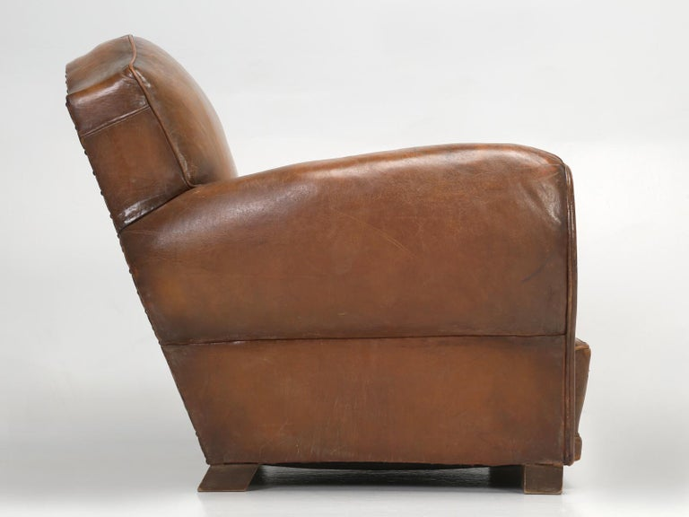 French Leather Club Chair from the Art Deco Period, Internally Restored Properly For Sale 13