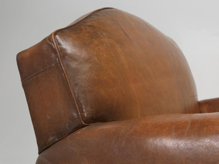 Hand-Crafted French Leather Club Chair from the Art Deco Period, Internally Restored Properly For Sale