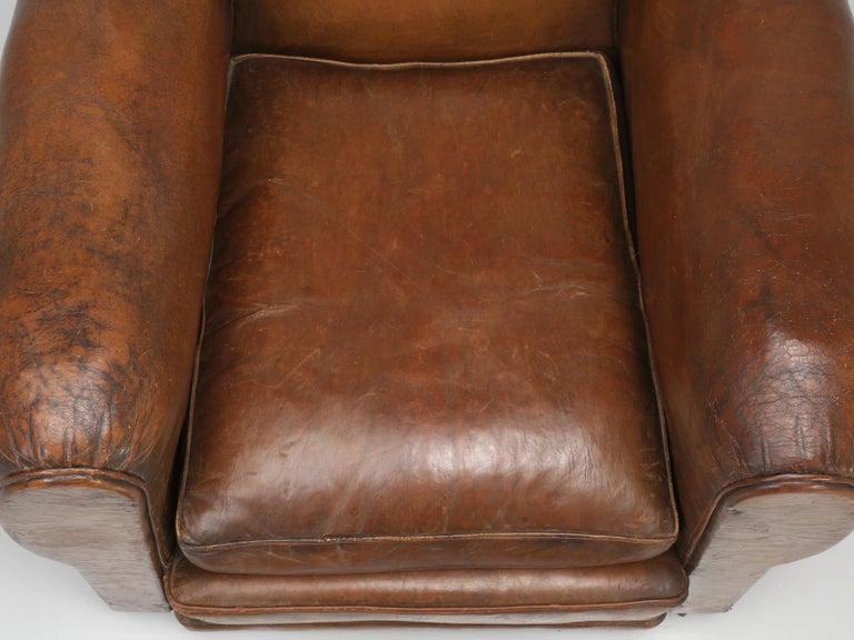 French Leather Club Chair from the Art Deco Period, Internally Restored Properly For Sale 1