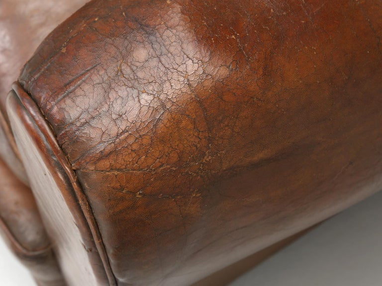 French Leather Club Chair from the Art Deco Period, Internally Restored Properly For Sale 3