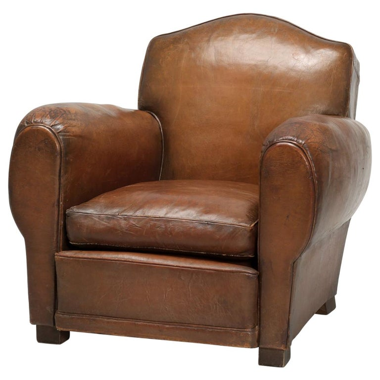 French Leather Club Chair from the Art Deco Period, Internally Restored Properly For Sale