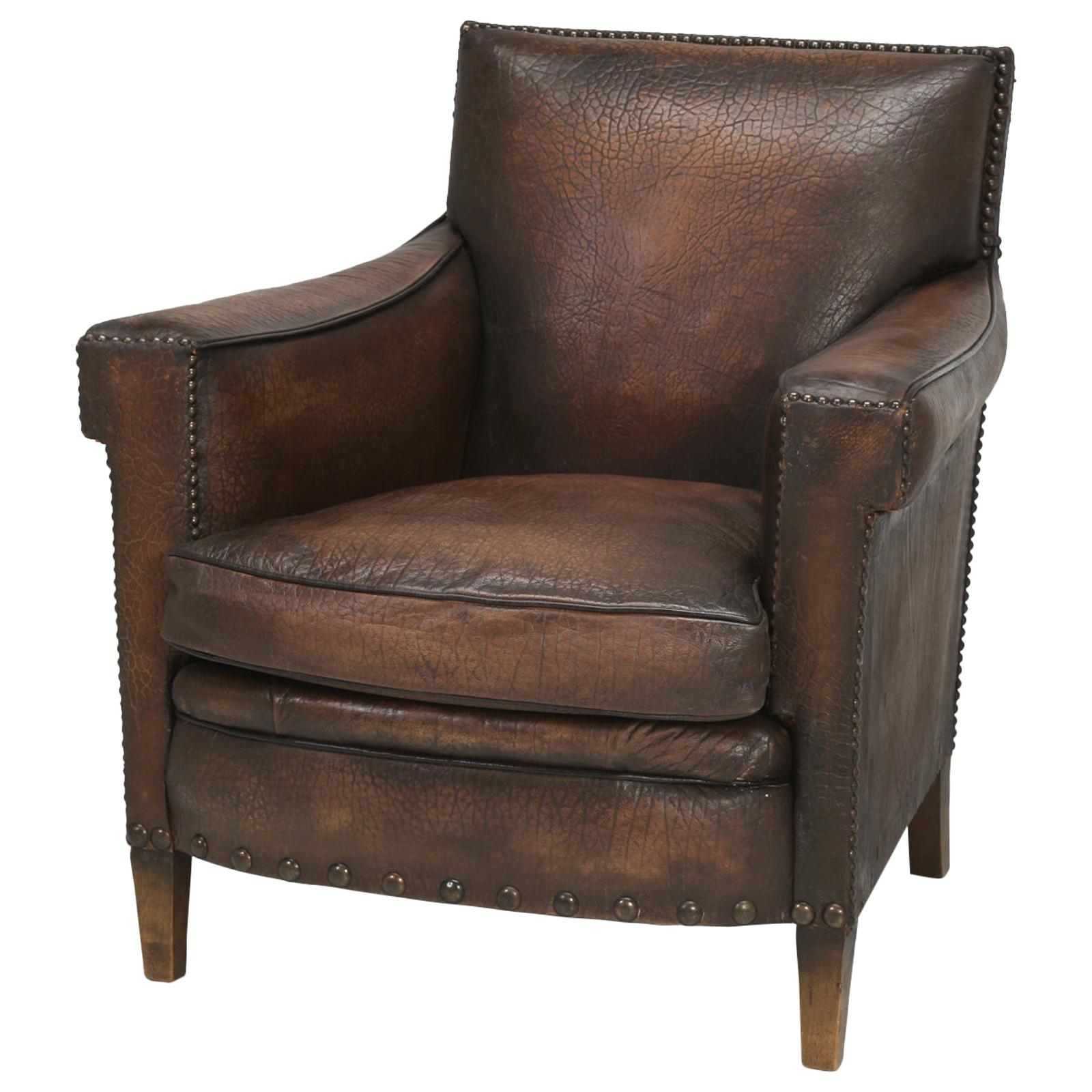 French Leather Club Chair In An Elephant Pattern Embossed Cowhide Restored