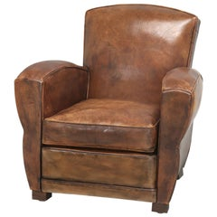 French Leather Club Chair Restored Internally, but Kept Cosmetically Original