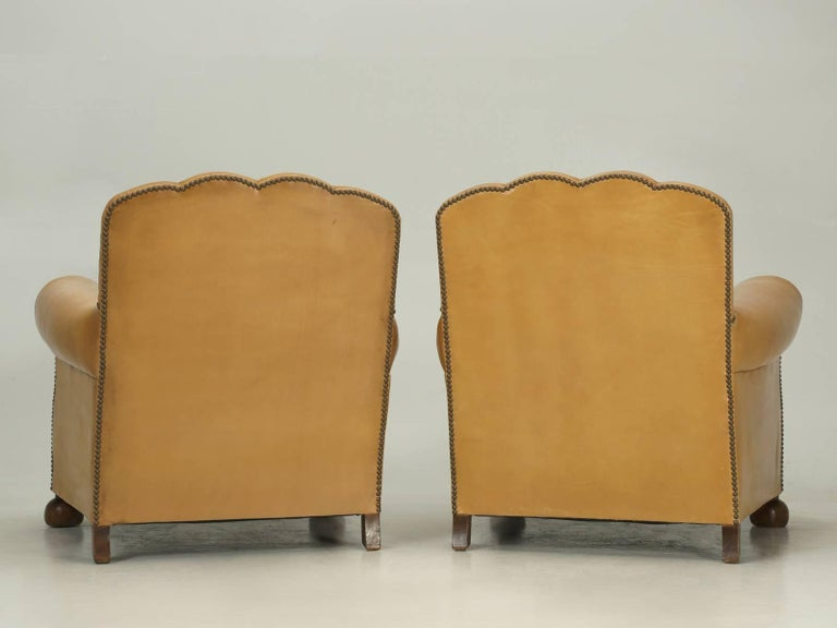 French Leather Club Chairs, Completely Restored from the Bare Frame For Sale 5