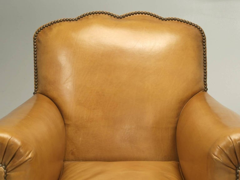 Generally, we are able to tell you how we managed to conserve and save the original leather, on our French leather club chairs, but this pair of French club chairs, lost the battle with the house cat. We tried, but in the end, we had to completely