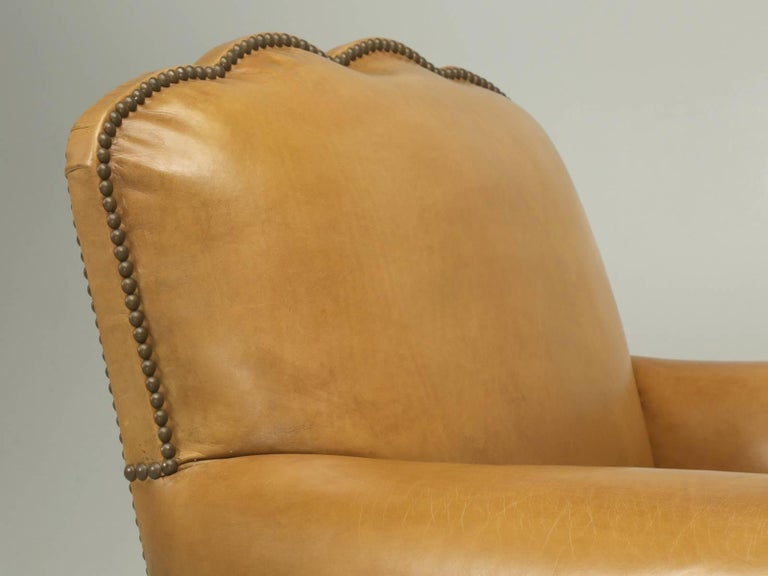 Art Deco French Leather Club Chairs, Completely Restored from the Bare Frame For Sale