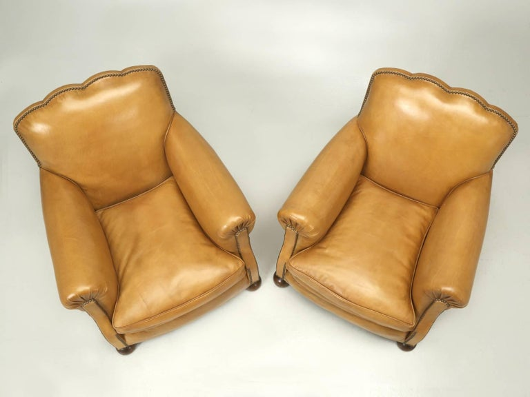 French Leather Club Chairs, Completely Restored from the Bare Frame In Excellent Condition For Sale In Chicago, IL
