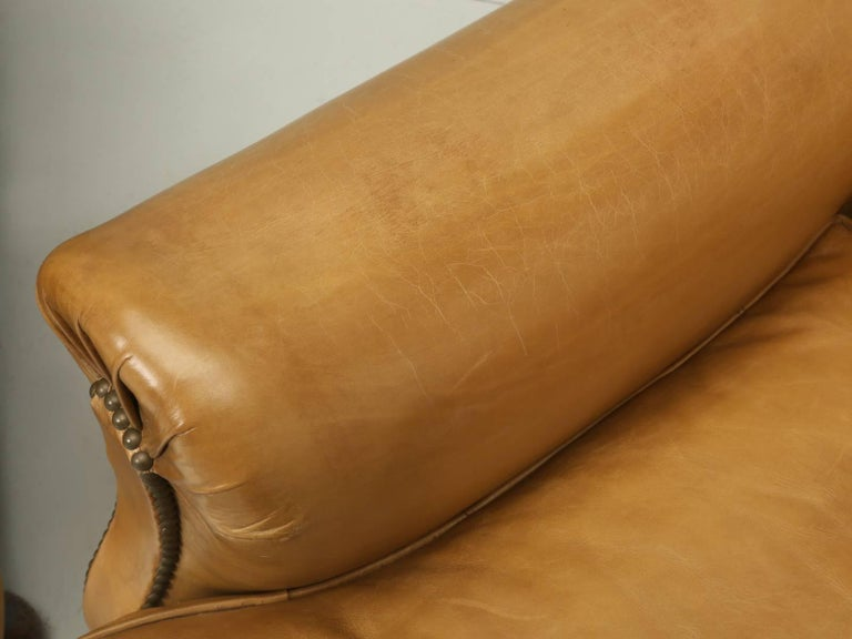 Mid-20th Century French Leather Club Chairs, Completely Restored from the Bare Frame For Sale