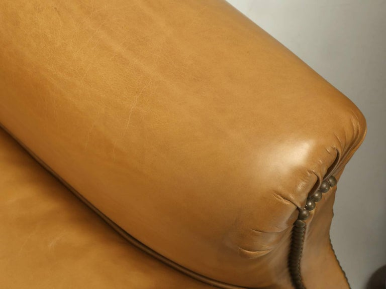 French Leather Club Chairs, Completely Restored from the Bare Frame For Sale 1