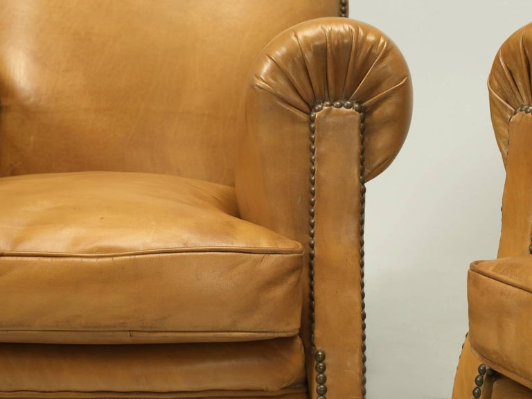 French Leather Club Chairs, Completely Restored from the Bare Frame For Sale 2