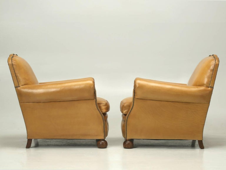French Leather Club Chairs, Completely Restored from the Bare Frame For Sale 4