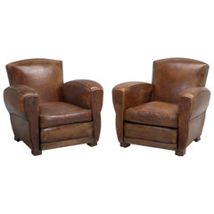 French Leather Club Chairs Restored Internally Cosmetically Original Third Avail