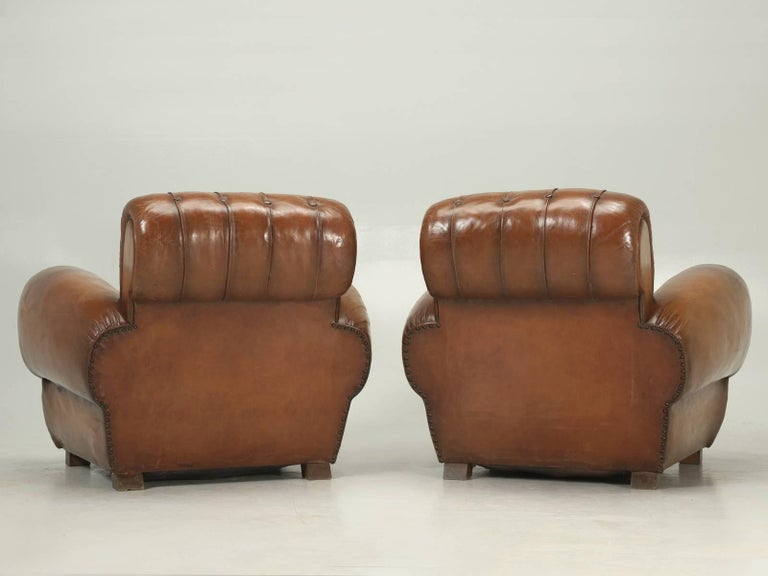 French Leather Club Chairs with Unusual Tufted Backs, Completely Original For Sale 5