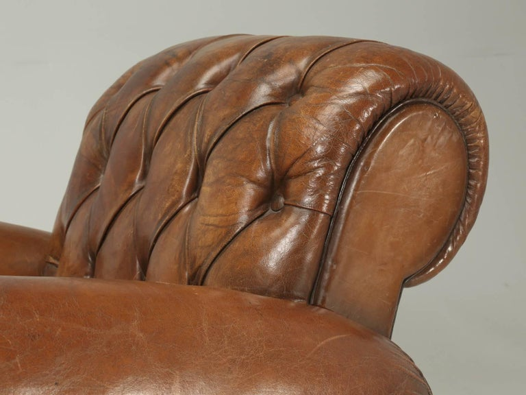 French Leather Club Chairs with Unusual Tufted Backs, Completely Original In Good Condition For Sale In Chicago, IL