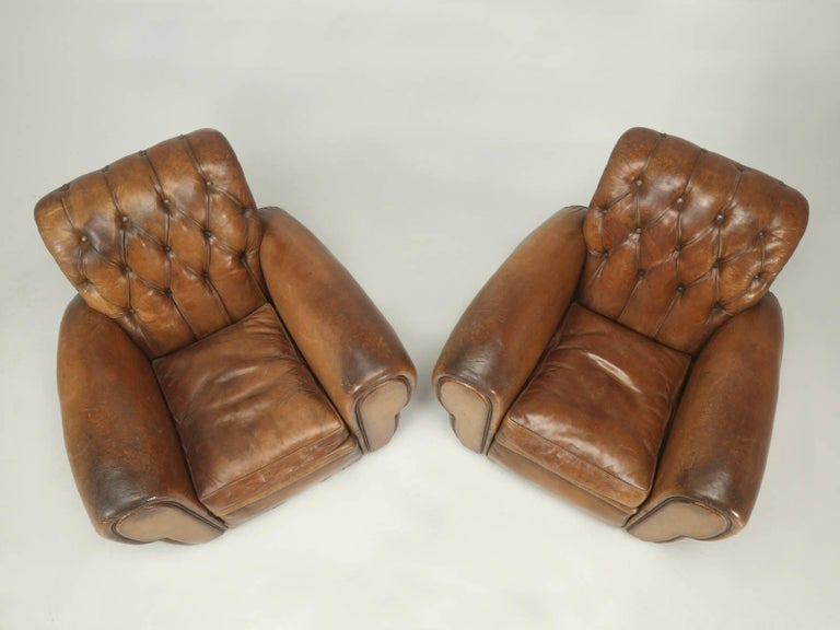 Mid-20th Century French Leather Club Chairs with Unusual Tufted Backs, Completely Original For Sale