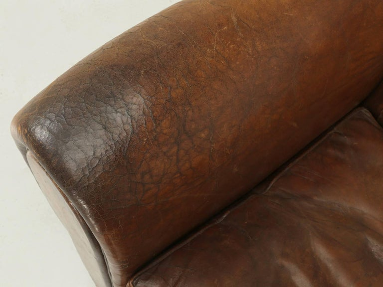 French Leather Club Chairs with Unusual Tufted Backs, Completely Original For Sale 2