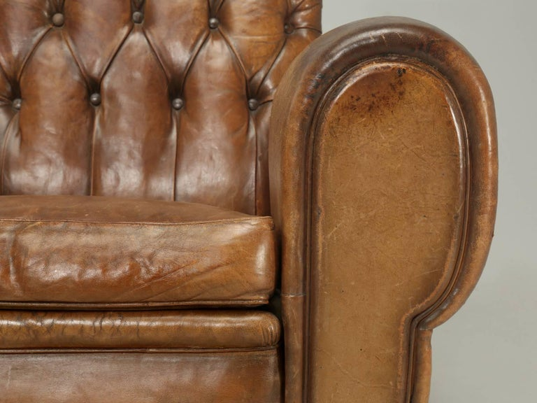 French Leather Club Chairs with Unusual Tufted Backs, Completely Original For Sale 3
