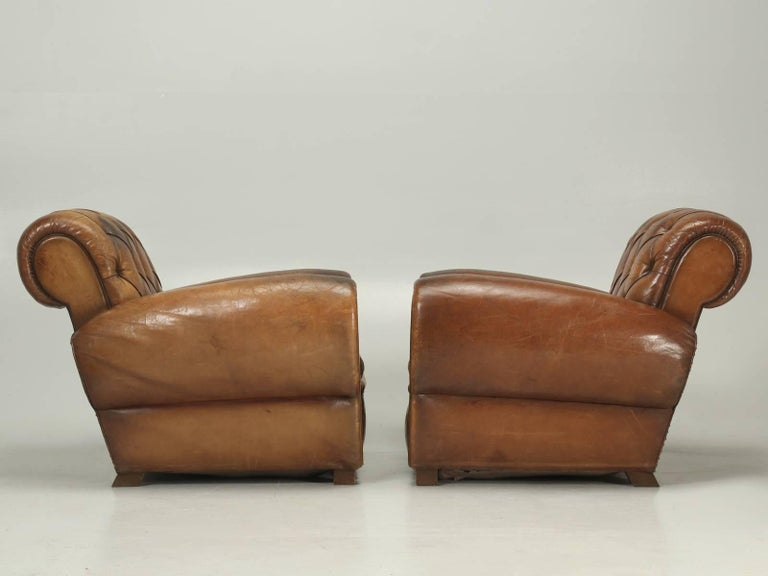 French Leather Club Chairs with Unusual Tufted Backs, Completely Original For Sale 4