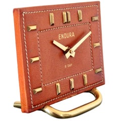 French Leather Desk Clock in the Style of Adnet