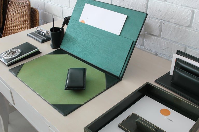 French Leather Desk Set For Sale 6