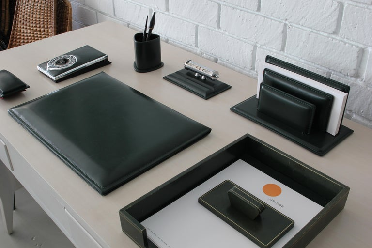 French Leather Desk Set For Sale 5