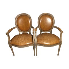 Ralph Lauren Style French Leather Distressed Louis XVI Pair of Chairs