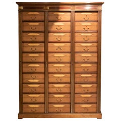 French Leather Drawer Storage Cabinet