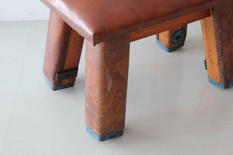 French Leather Gym Bench For Sale 2
