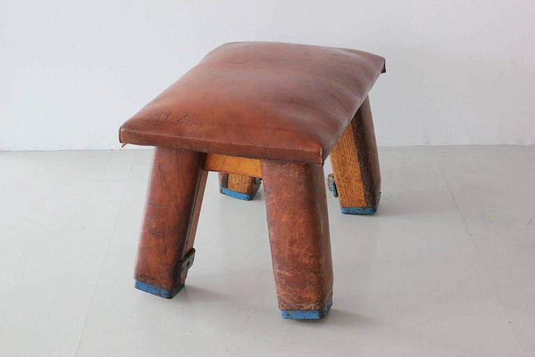 French Leather Gym Bench For Sale 3