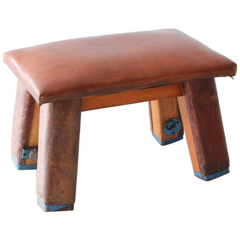 French Leather Gym Bench For Sale