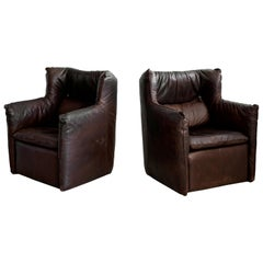 French Leather Lounge Chairs
