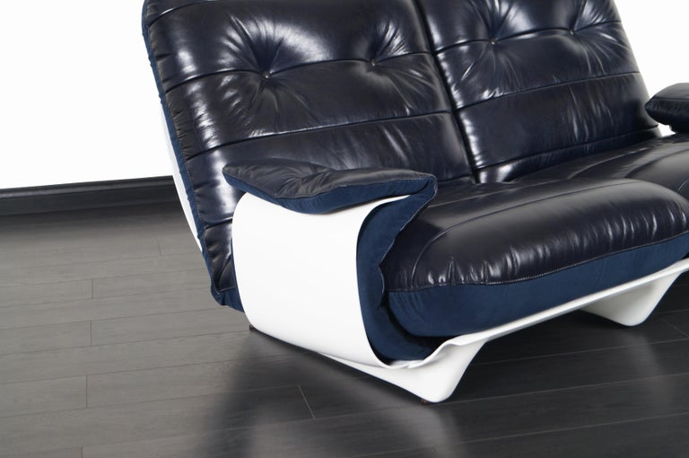 Mid-Century Modern French Leather