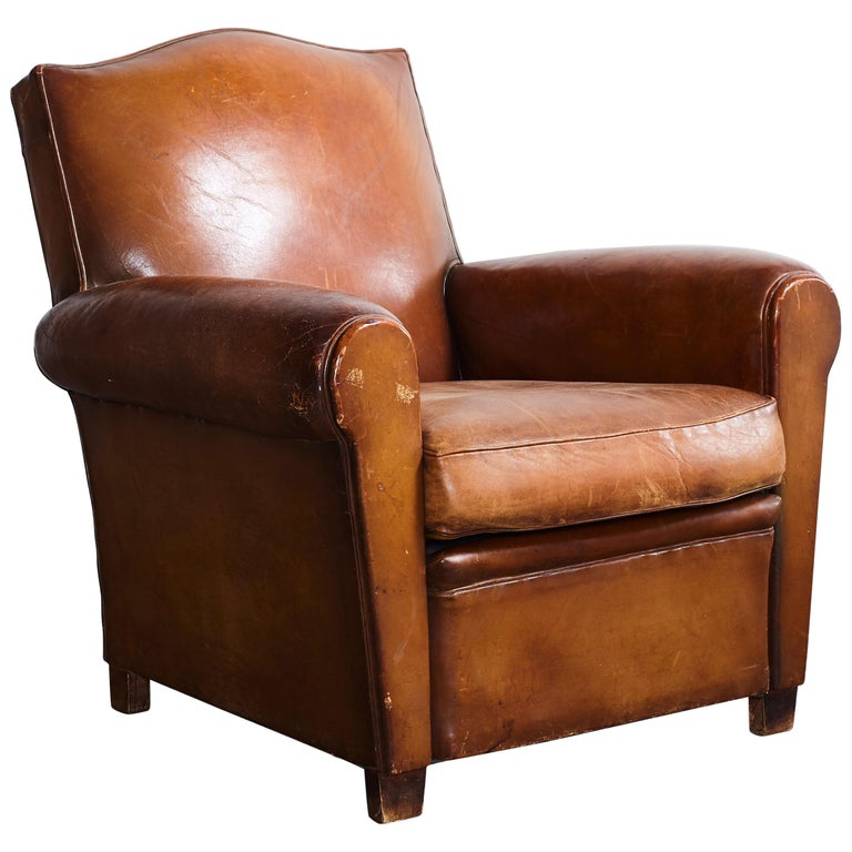 French Leather Petite Club Chair With Unique Crown Top