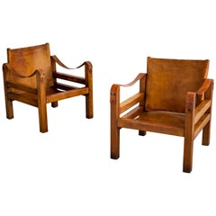 French Leather Safari Chairs