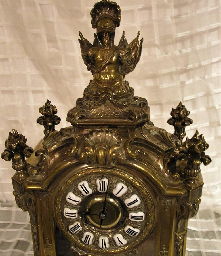 19th century French Lemerle Charpentier Louis XVI style figural silver gilt bronze mantle clock with key. Recently serviced and working. Figures are Mars Victorious and Venus.
